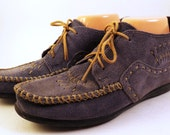 Womens Blue Suede Moccasins Shoes Leather Ankle Boots Minnetonka