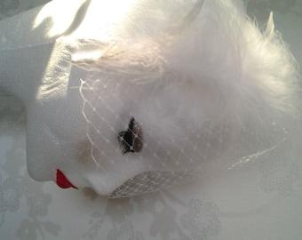 Feather Veil headband headpiece Fascinator - White feather fascinator Bridal headpiece Bridesmaid headband Wedding veil Races headpiece