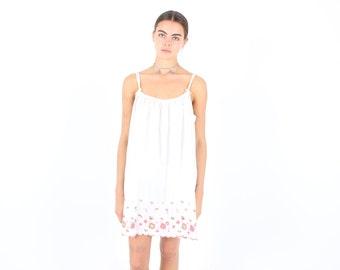SALE - Cutest Scalloped Hem Floaty White Cami / Nighty / Slip Dress