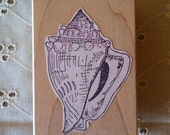 Rubber Stamp - Seashell, Shell, Seaside, Ocean, Summer, Detailed Shell Illustration, By the Beach, Shell Collecting, Wood Mounted, Used