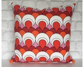 Red Cushion Cover Vintage Retro 70s Psychedelic Red Fabric Red Throw Pillow