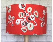 LampShade Vintage 50s 60s Abstract French Fabric Mid Century Red