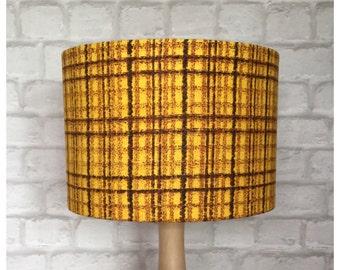 LampShade Handmade From Original Vintage Yellow Fabric, Mid Century