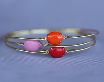 Peach Love-Vintage Stone Bangle, Gold Bangle, Brass Bracelet, Colorful, Summer Jewelry, Stack-able Bangles, Gold Bracelets, Red, Orange,Pink