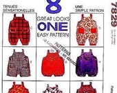 McCall's 7829 Toddler Sewing Pattern Sm- Ex Lg Toddler Jumpsuit and Romper with Snap Crotch and Optional Pockets, 8 Variations Easy to Sew