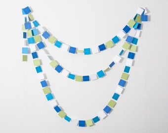 LAST ONE - Paper Garland - SQUARE , Little Man Baby Shower, Baby Shower Shower, Little Man Birthday Party, Blue and Green