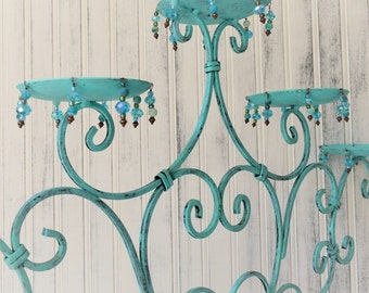 Wrought iron metal candle holder Hand painted Turquoise Coastal Cottage Beach Decor