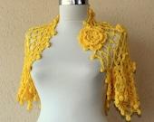 SALE Crochet Shrug Yellow Boho Bohemian Festival Cover Up Summer Bridal Shrug Bolero Organic Cotton Flower Shrug Gift For Her / S-M