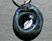 UFO Starry Night Stars Glass Pendant, Night Sky Lampwork Boro Jewelry, Hand Blown Art Necklace, Hold the Universe In Your Hand
