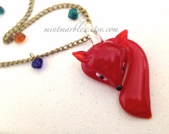 Glass Fox Necklace. Vintage Style. Sly. Red. Brass. Long Necklace. Fall. Woodland. Long Chain. Brass Chain. Under 25. Gift for Her. Forest