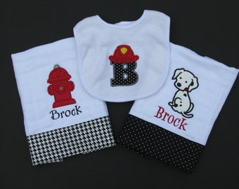 Set of 3 fireman burp cloths; appliqued, personalized burp cloths; dalmation; fire dog; fire hydrant
