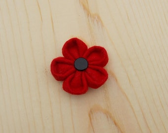 Clearance: The Boston -Red Pure Wool Felt Lapel Flower//Boutonniere//flower, men's lapel flower