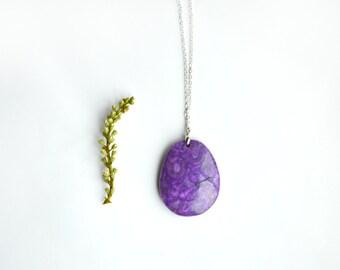 Purple Agate Necklace - Stone Pendant -  Agate Pendant - Boho Jewelry