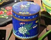 Cloisonné Box, Blue Enamel Box, Brass Box, Blue Cylinder Box, Keepsake Box, Trinket Box, Boho Chic Bathroom Storage, Powder Room Storage