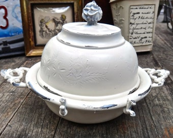 Butter Dish, Poole Silver Co. Quadruple Plate Butter Dome, White Dome Dish, Catchall Shabby Decor, 1800s Decor, Poole Silver CW Butter Dish