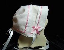 Heirloom handkerchief baby bonnet is 100% HEMSTITCHED LINEN with PINK ribbon border hanky bonnet Magic Keepsake Christening baby bonnet