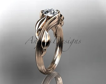 """14kt rose gold leaf and vine wedding ring, engagement ring with a  """"Forever One"""" Moissanite center stone ADLR273"""