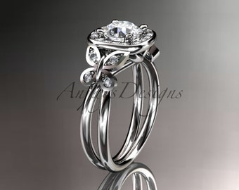 platinum diamond unique butterfly engagement ringwedding ring adlr330 - Butterfly Wedding Rings