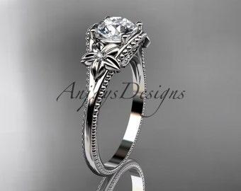platinum leaf and flower diamond unique engagement ring ADLR375