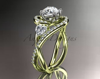 Unique 14kt yellow gold diamond engagement ring, wedding band ADLR320