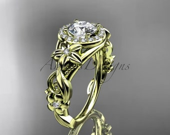 14kt yellow gold diamond unique engagement ring,wedding ring ADLR300