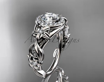 """14kt white gold diamond unique engagement ring, wedding ring with a """"Forever One"""" Moissanite center stone ADLR300"""
