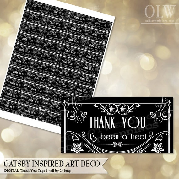 gatsby art deco thank you tags black and white architectural
