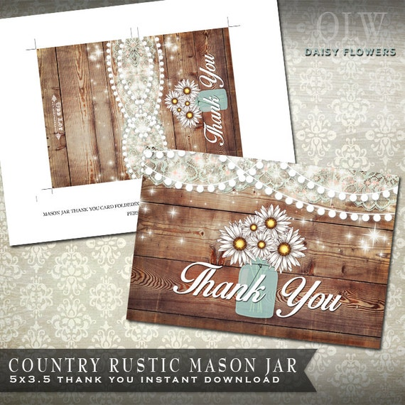 Mason Jar Thank You Card Rustic Thank You Card Daisy Flowers Thank
