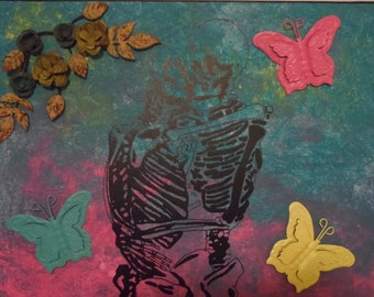 Different But The Same Beauty 16x20 Mixed Media Acrylic on Canvas Hand Painted Art Light Goth Inspired