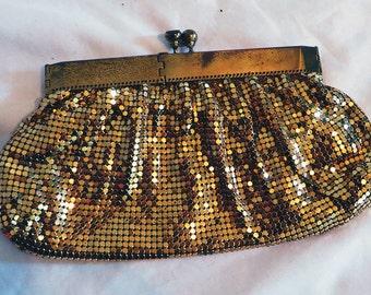 USA Made Vintage Duramesh Gold Metal Mesh Evening Bag Clutch Handbag