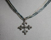 Sterling Silver Cross on Fine Teal Blue & Silver Seed Bead Chain