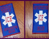 Finished ICE In Case of  EMERGENCY Finished Seat Belt Cover Pad this is NOT an embroidery design
