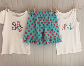 CAT in the HAT BIRTHDAY and beyond! One top for the birthday, and a monogrammed tank for after, paired with ruffled shorts  in Aqua and Red