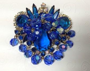 D&E aka Juliana Blue Rhinestone and Crystal Dangle Brooch    Item: 17110
