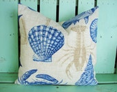 new 18x18 Richloom sea life marine print outdoor/indoor fabric , decorative pillow cover-gifts under 40-throw pillow