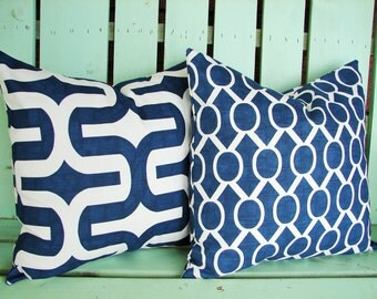 "Set of 2 18"" X 18"" navy, white modern print cotton- Decorative pillow cover-throw pillow-accent pillow"