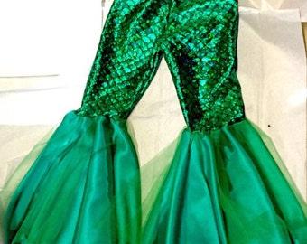 DANCER- Custom mermaid girl pants,toddler and girls costume dance pants, Little Mermaid Costume Pants, Dance wear, Dance wear pants