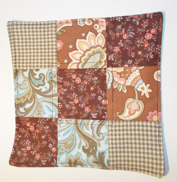 Quilted Rug Rug, Fabric Coaster, Patchwork Mat, Snack Mat