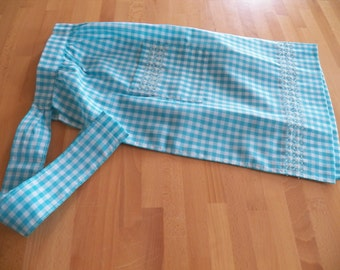 Vintage 1950 Turquoise Gingham Apron with Expert Embroidered Accents