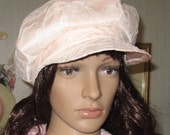 Pink Satin and Cream Rosy Lace Newsboy Cap