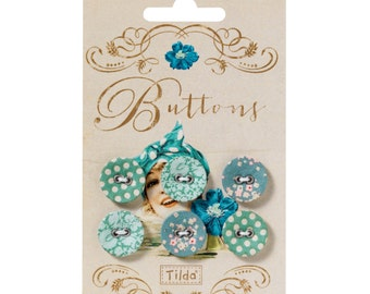 Tilda Spring Lake Fabric Covered Buttons 17mm Pack of 6