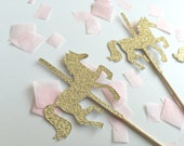 25 Carousel Gold Glitter Cupcake Toppers.  Carousel Birthday Party.  Magical Fairy Party.  Cupcake Decor