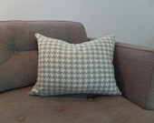 Blue and White Houndstooth Zippered Pillow Cover