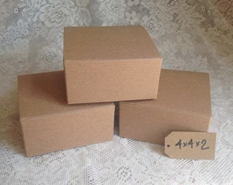 10 Kraft Gift Boxes - 4x4x2 jewelry beads watches and more