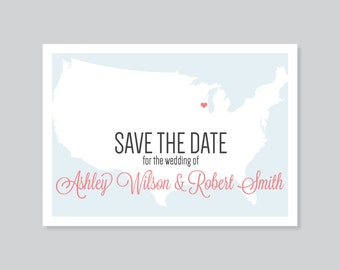 Custom Save the Date Postcard, Map Save the Date