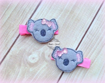 Koala hair clip Kutie Embroidered Felt Hair Clippies with tiny rhinestone Bows. Pick one or two. Pick Left side or Right.
