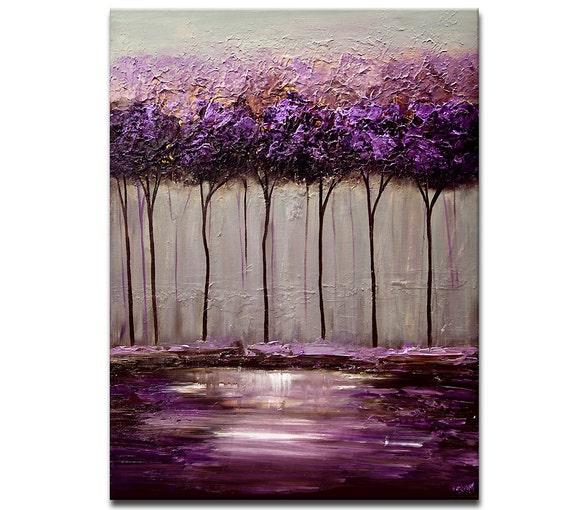 Moderne abstrait peinture violet gris lavendar par - Peinture violet et gris ...