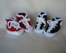 Crocheted Red or Black High Top Sneakers - Made to Order