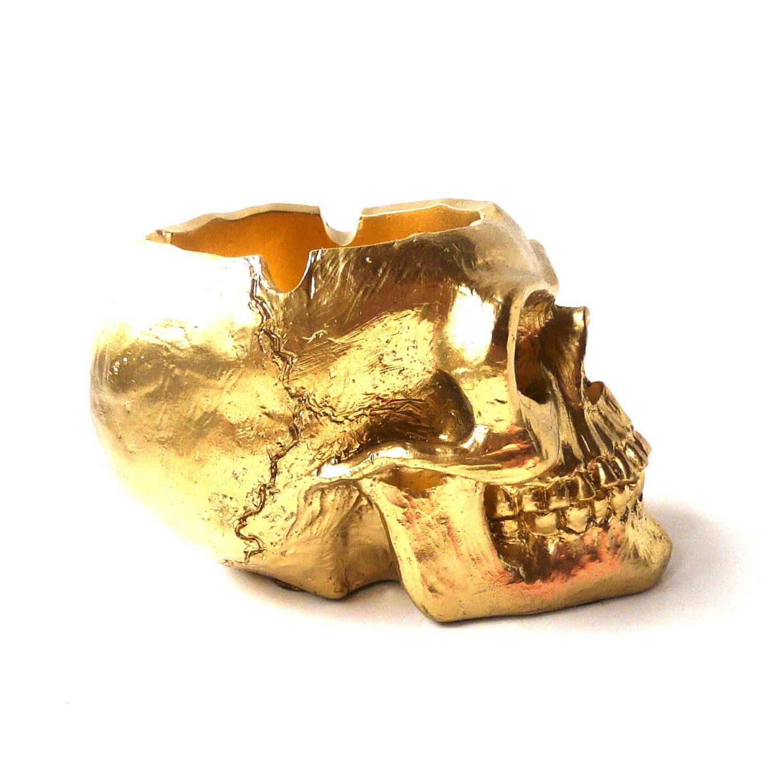 Skull head ashtray gold skulls goth home decor ashtrays by for Skull home decor