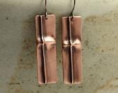 Fold Formed Copper Earrings, Dangle Earrings, Cross Earrings, Southwestern Earrings, Fold Formed Earrings